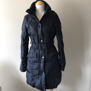 Puffa quilted long puffer jacket black xs